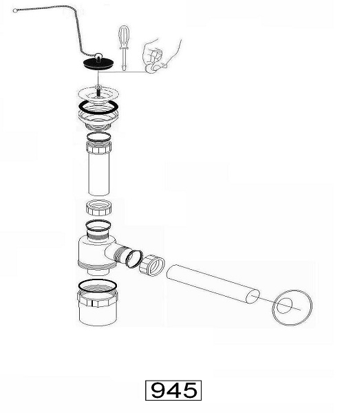 Siphon Évier Céramique avec Bonde Inoxydable