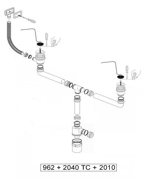 Siphon Double Bacs Inox avec Bonde Inoxydable